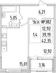 2-к.кв (евро), 42.35 м²