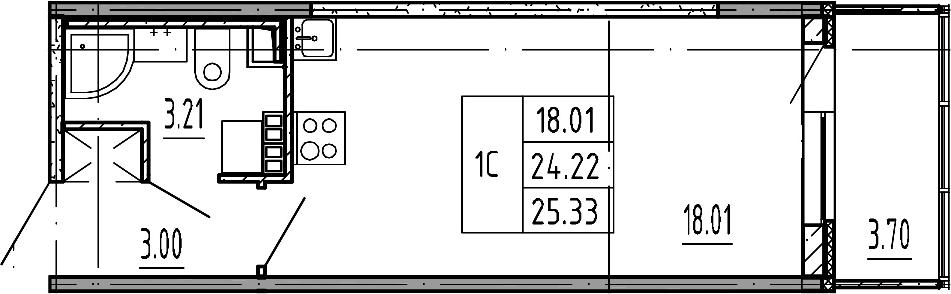 Студия, 24.22 м²– 2