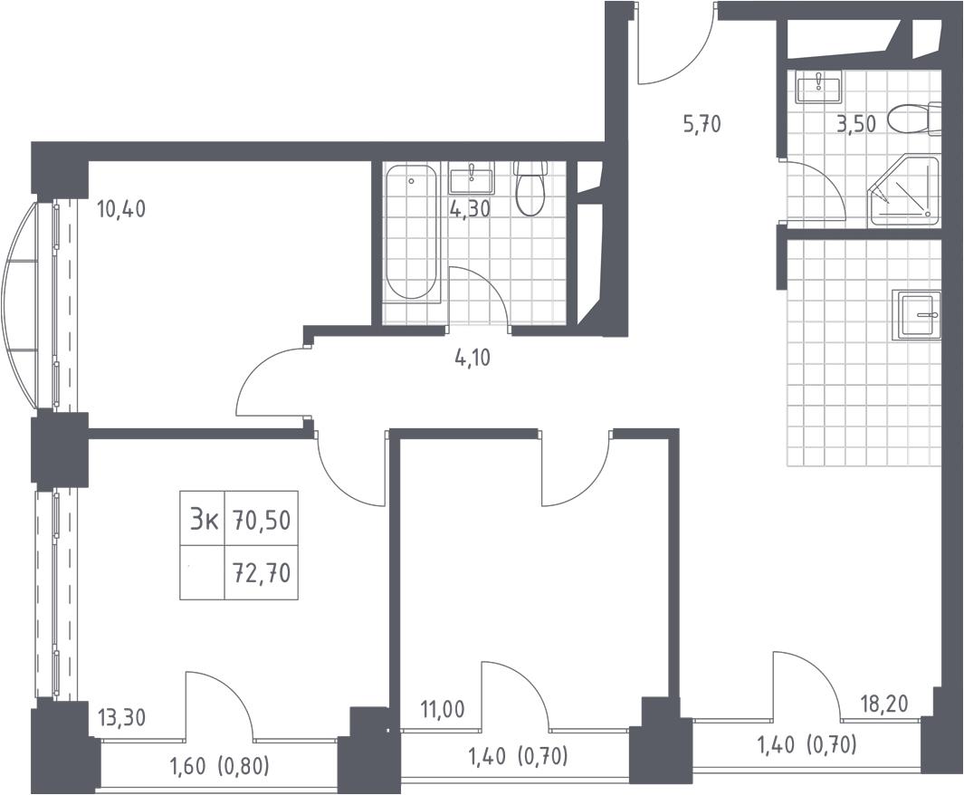 4-к.кв (евро), 74.9 м²