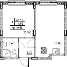 2Е-комнатная, 35.17 м²– 2