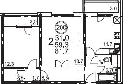 2-к.кв, 61.7 м²