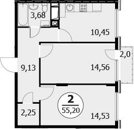 2-к.кв, 56.6 м²