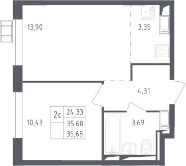 2Е-комнатная, 35.68 м²– 2