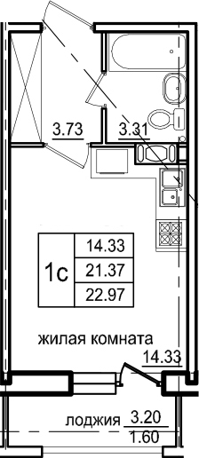 Студия, 22.97 м², 11 этаж