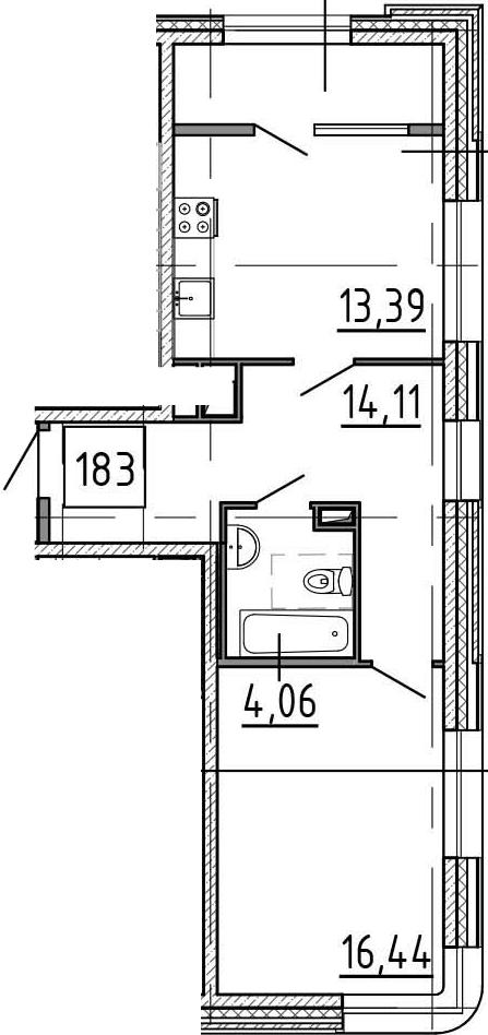 1-комнатная квартира, 52.82 м², 2 этаж – Планировка