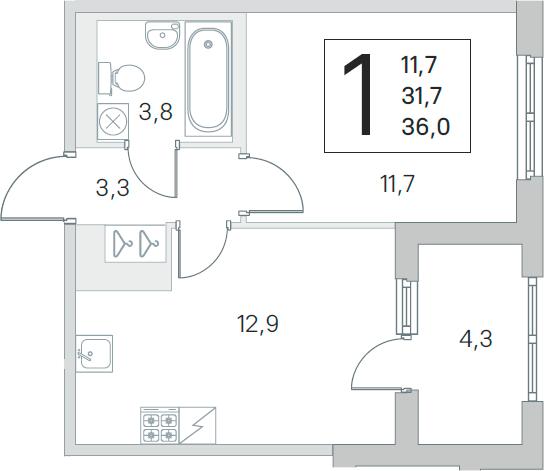 2Е-к.кв, 31.7 м², 3 этаж