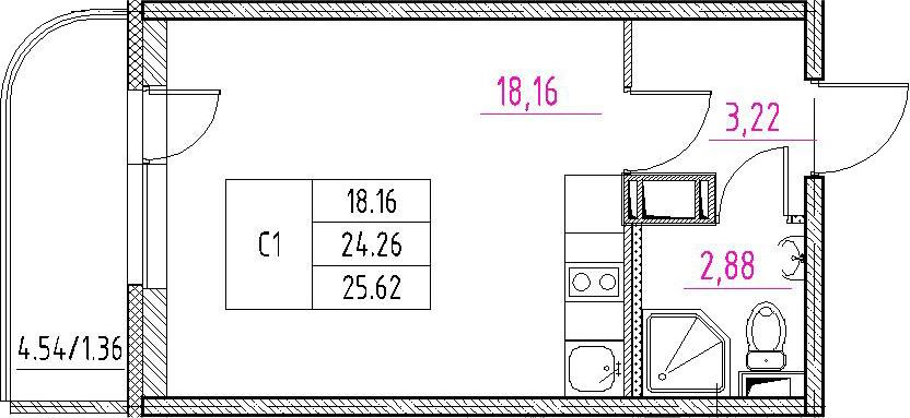 Студия, 28.79 м²