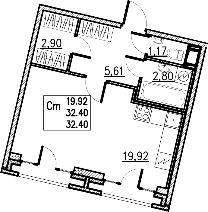 Студия, 32.4 м²– 2