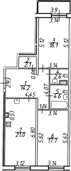 2-комнатная, 80.3 м²– 2