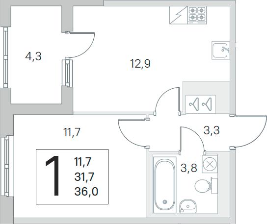 1-к.кв, 31.7 м², 2 этаж