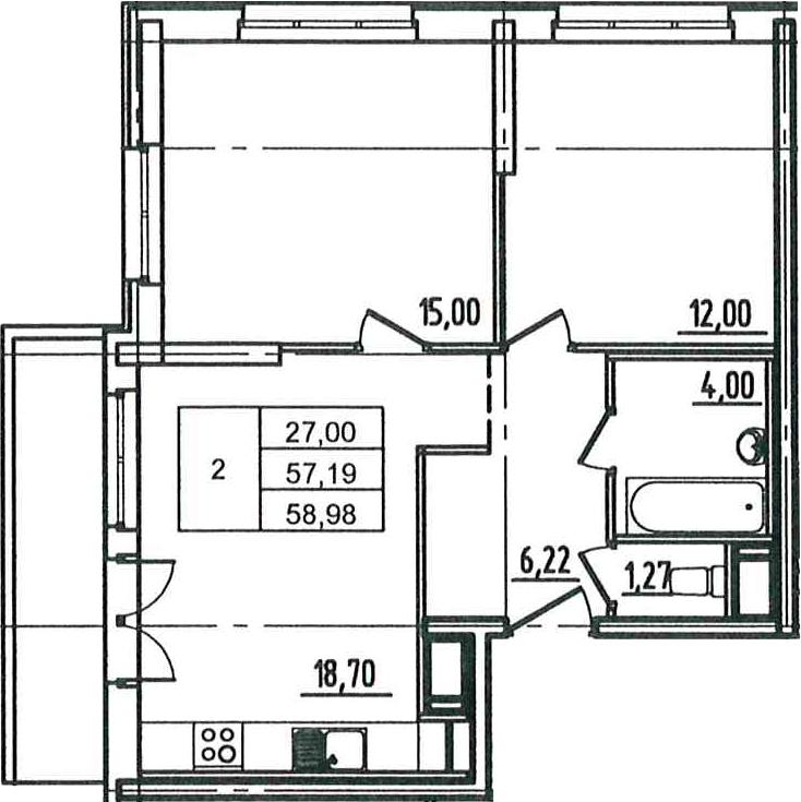 3Е-к.кв, 58.98 м², 12 этаж