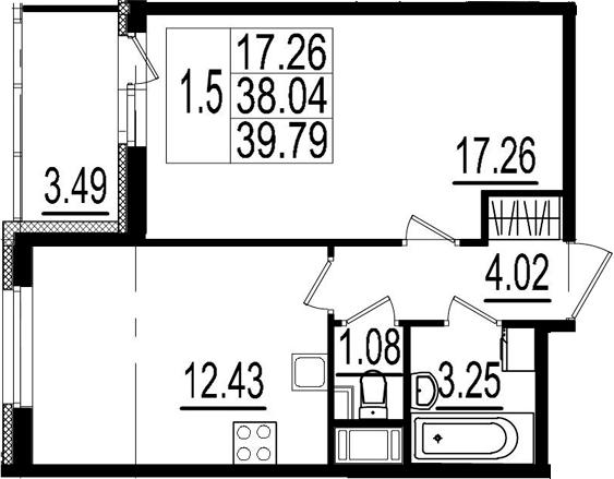 1-комнатная, 38.04 м²– 2