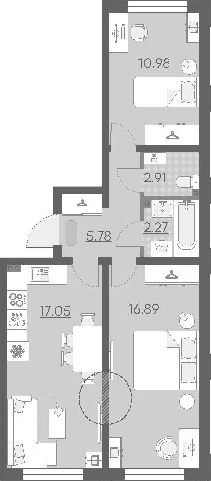 3Е-комнатная квартира, 55.88 м², 2 этаж – Планировка