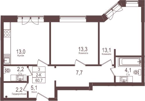 2-к.кв, 60.7 м²