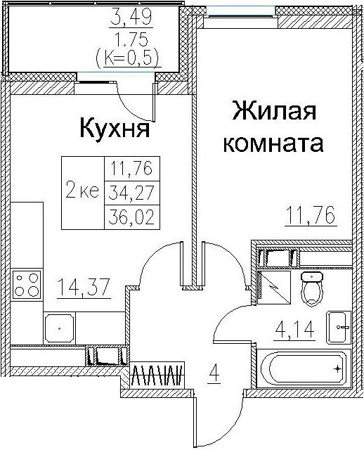 2-к.кв (евро), 37.77 м²