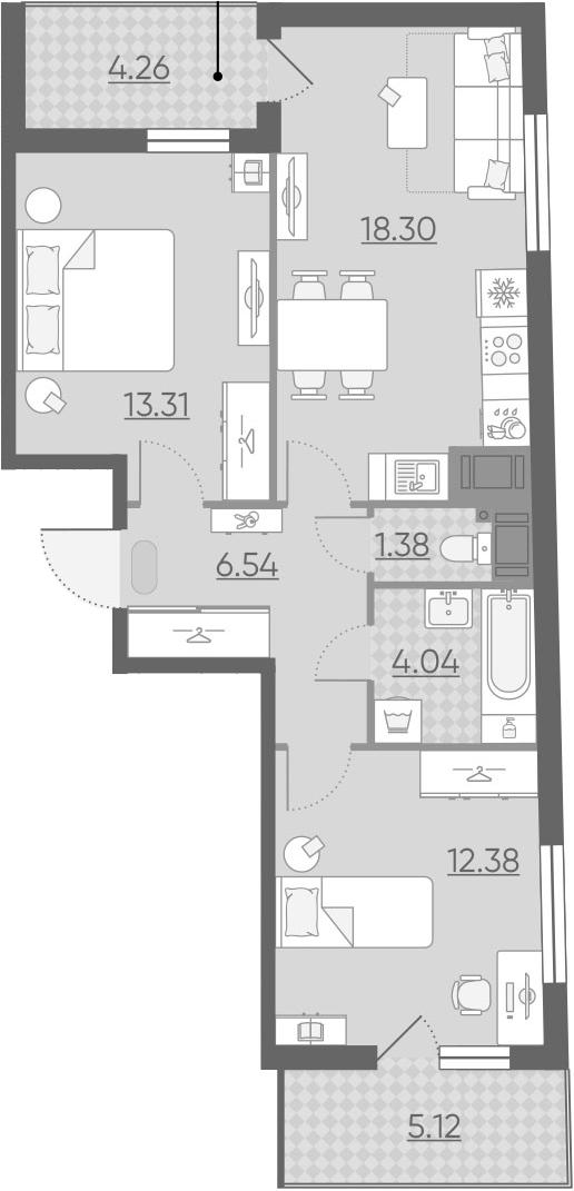 3Е-комнатная, 60.64 м²– 2