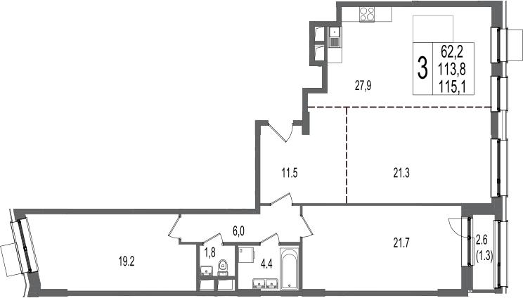 3-к.кв, 115.1 м², 6 этаж