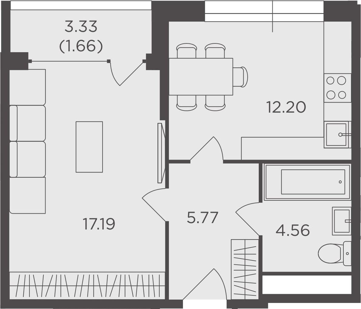 1-комнатная, 41.38 м²– 2