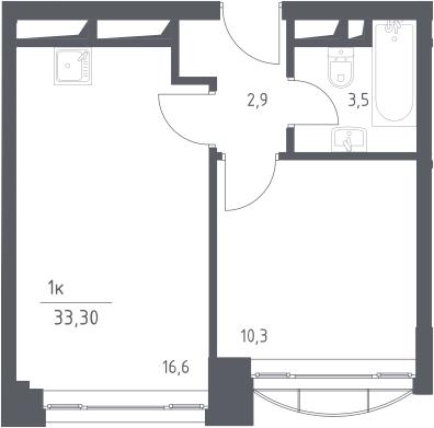 2-к.кв (евро), 33.3 м²