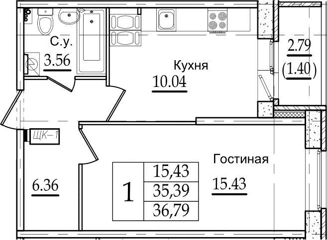 1-комнатная квартира, 36.79 м², 9 этаж – Планировка