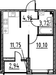 1-комнатная, 30.53 м²– 2
