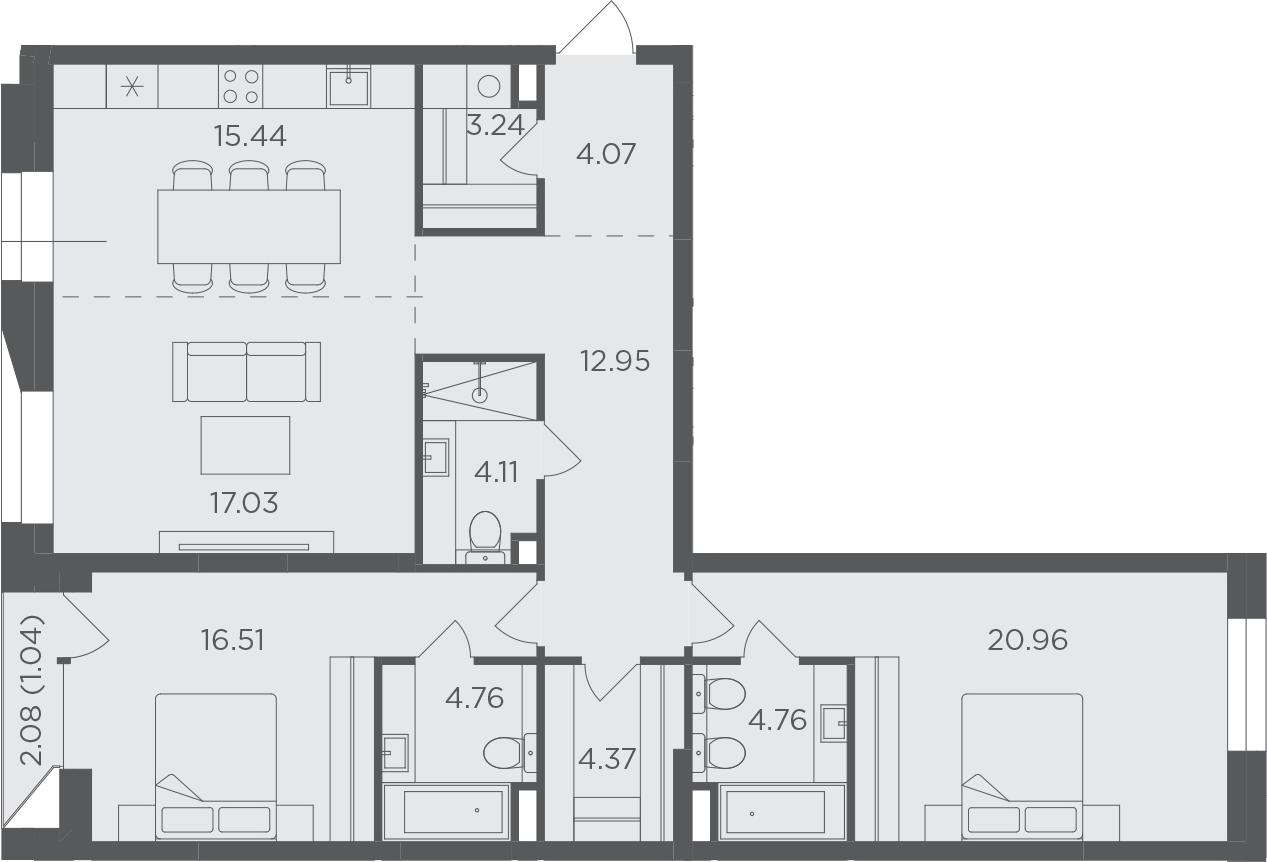 3-к.кв, 109.24 м²