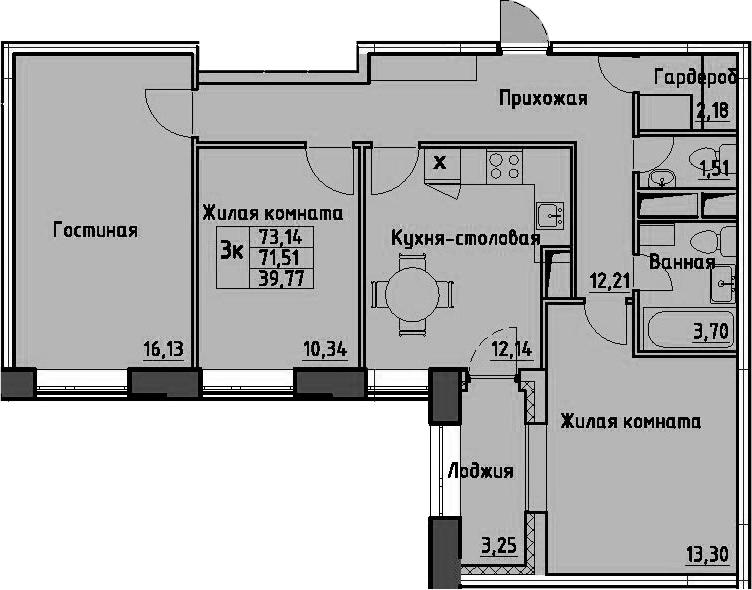 3-комнатная квартира, 73.14 м², 10 этаж – Планировка