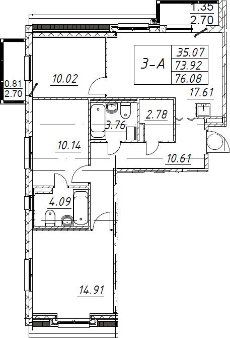 3-к.кв, 76.08 м², 5 этаж