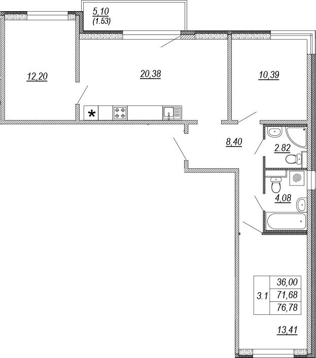 4Е-комнатная, 71.68 м²– 2