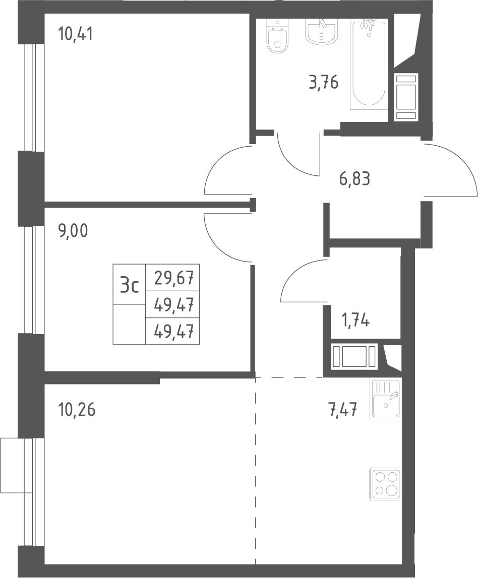 3Е-к.кв, 49.47 м²