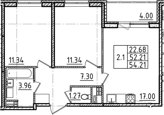 3Е-к.кв, 54.21 м²