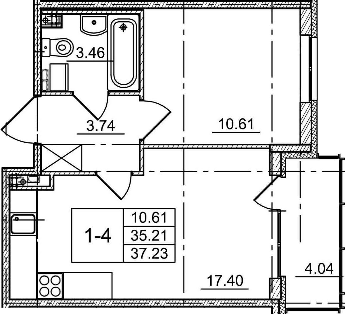 2Е-к.кв, 35.21 м², 3 этаж