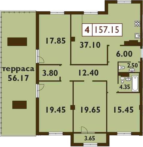 5Е-к.кв, 157.15 м²