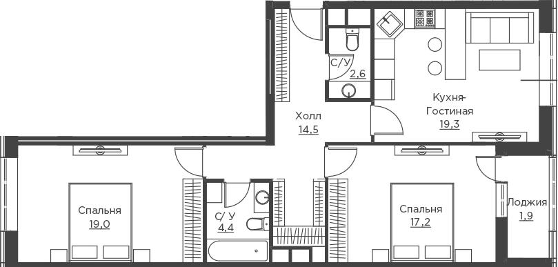 3Е-к.кв, 78.9 м²