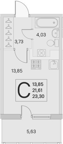 Студия, 21.61 м²– 2