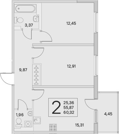 3Е-к.кв, 57.21 м², от 3 этажа