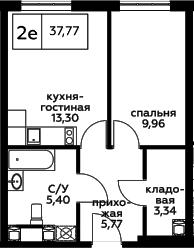 2Е-к.кв, 37.77 м², 24 этаж