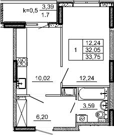 1-к.кв, 33.75 м², от 3 этажа