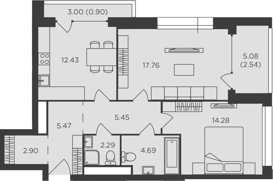 2-к.кв, 68.71 м²