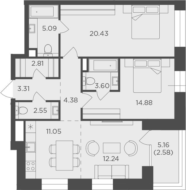 3Е-к.кв, 82.92 м², 13 этаж