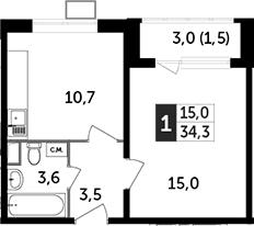 1-комнатная, 34.3 м²– 2
