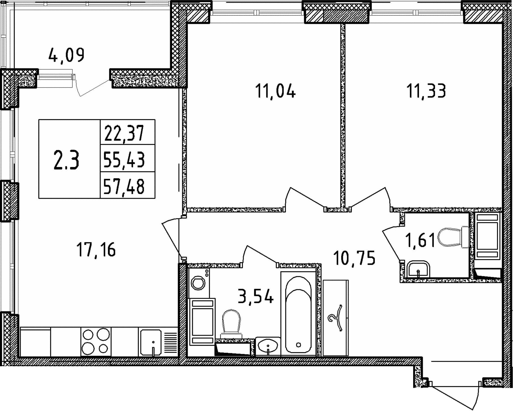 3Е-к.кв, 55.43 м²