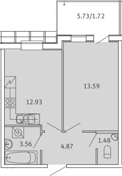 1-комнатная, 38.15 м²– 2