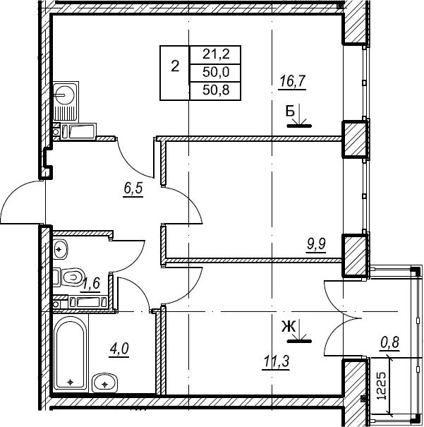 2-к.кв, 50.9 м²