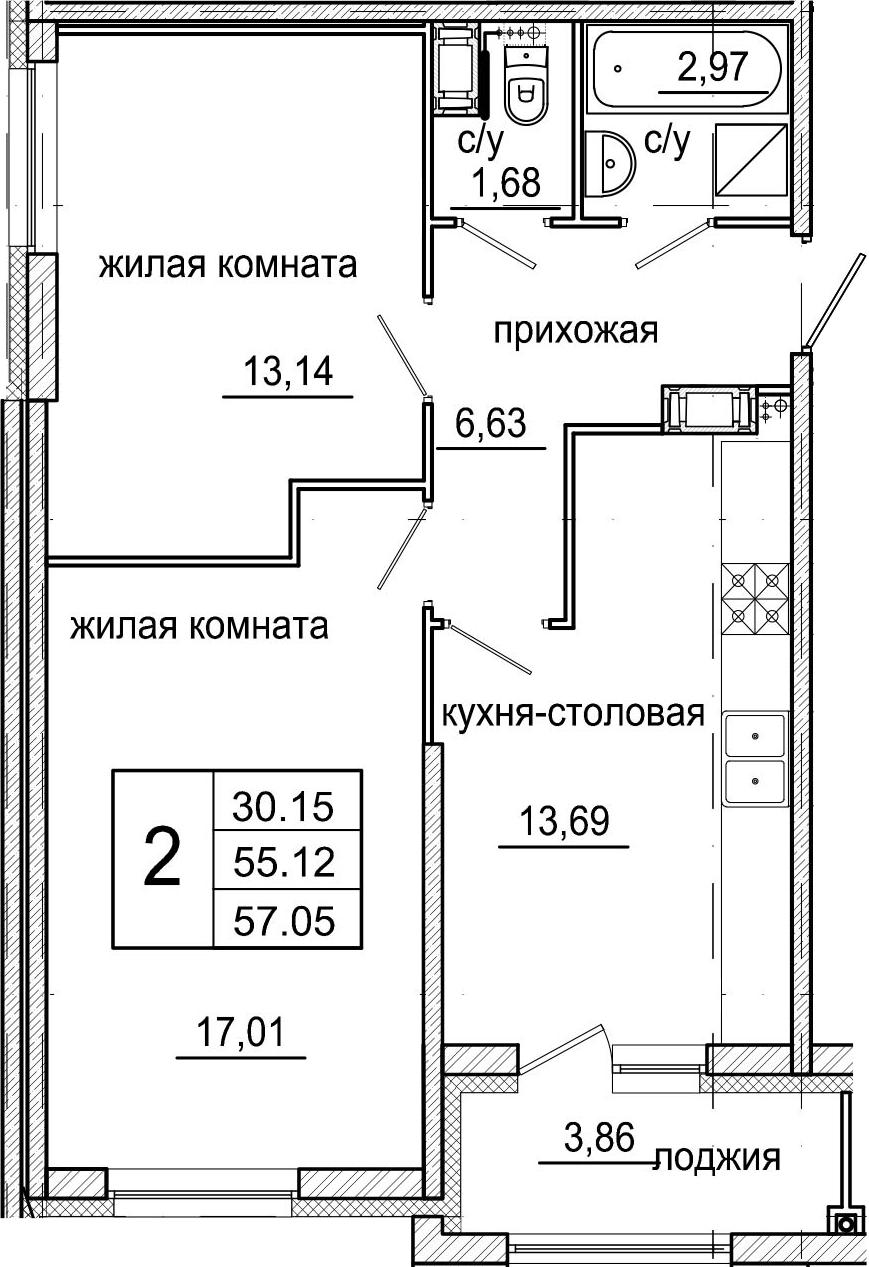3-к.кв (евро), 58.98 м²