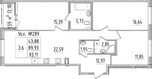 4Е-к.кв, 89.93 м², 2 этаж