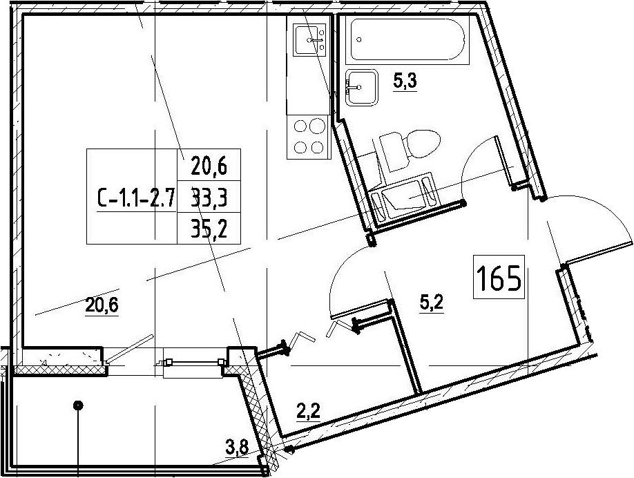 Студия, 35.2 м², 2 этаж