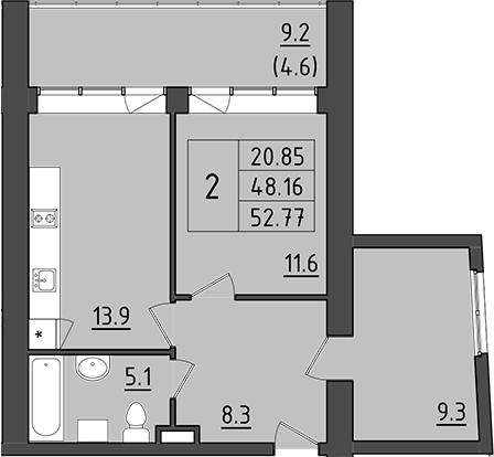 2-к.кв, 57.36 м²