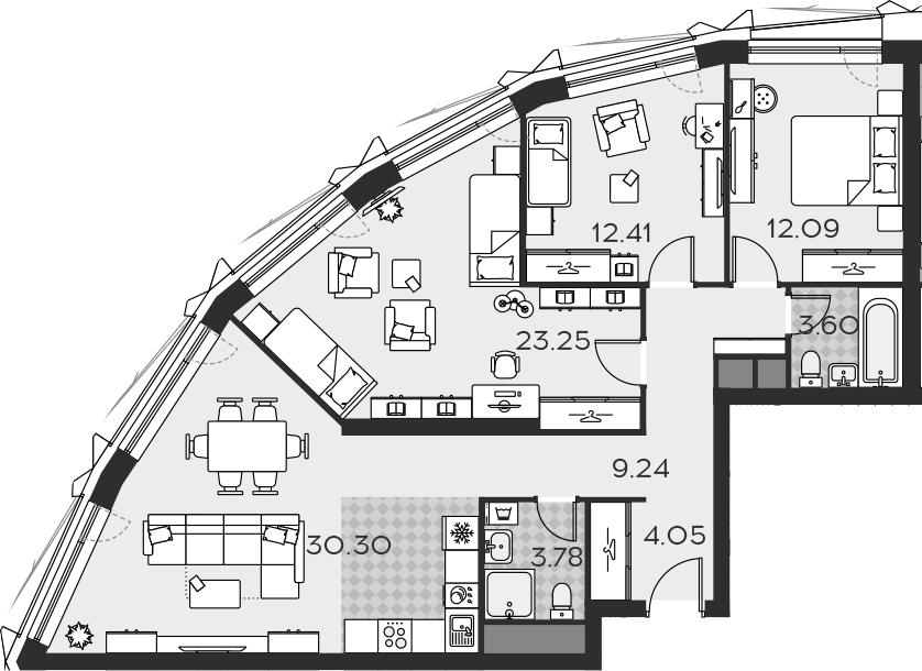 4Е-комнатная, 98.72 м²– 2