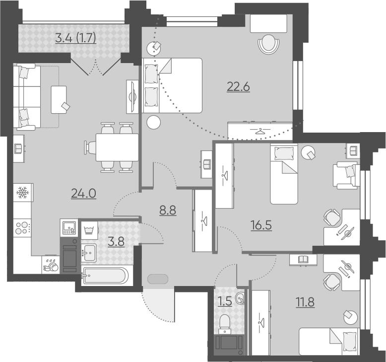 4Е-к.кв, 90.7 м²